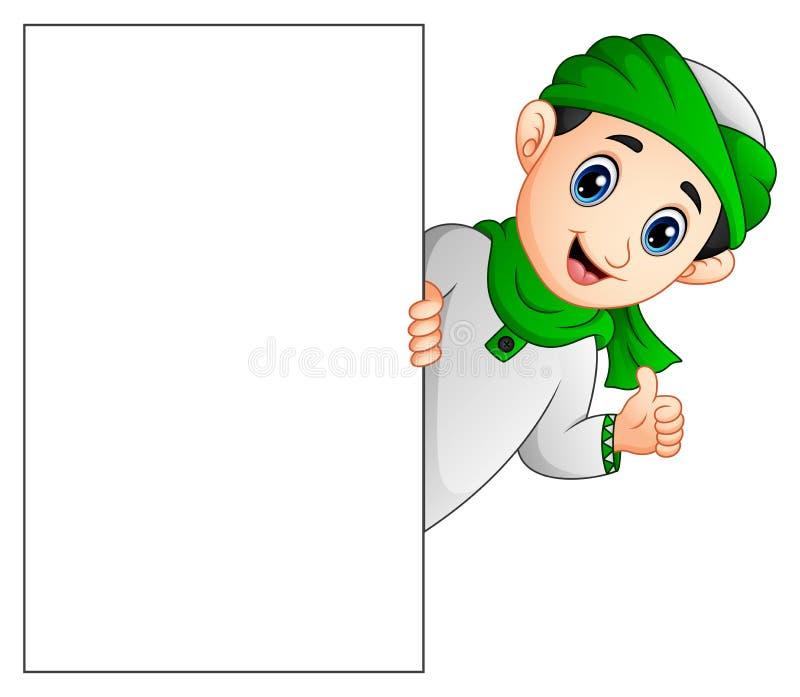 Szczęśliwy muzułmański dzieciaka mienia puste miejsce szyldowy i daje kciukowi up ilustracja wektor