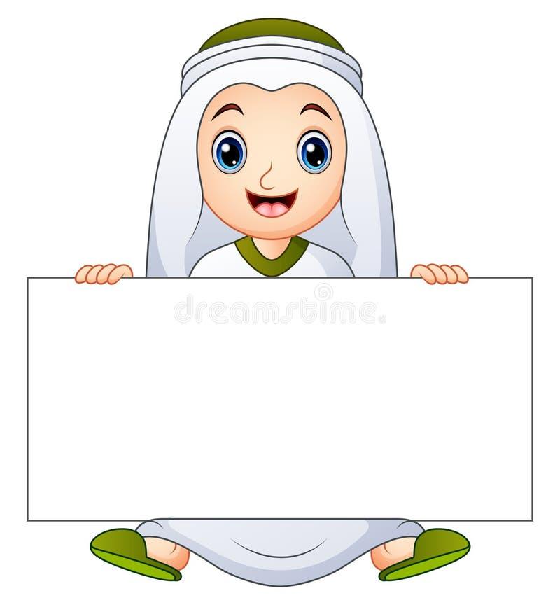 Szczęśliwy muzułmański dzieciaka mienia pustego miejsca znak royalty ilustracja