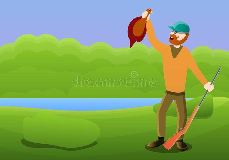 Szczęśliwy myśliwy strzelaniny kaczki pojęcia sztandar, kreskówka styl ilustracji