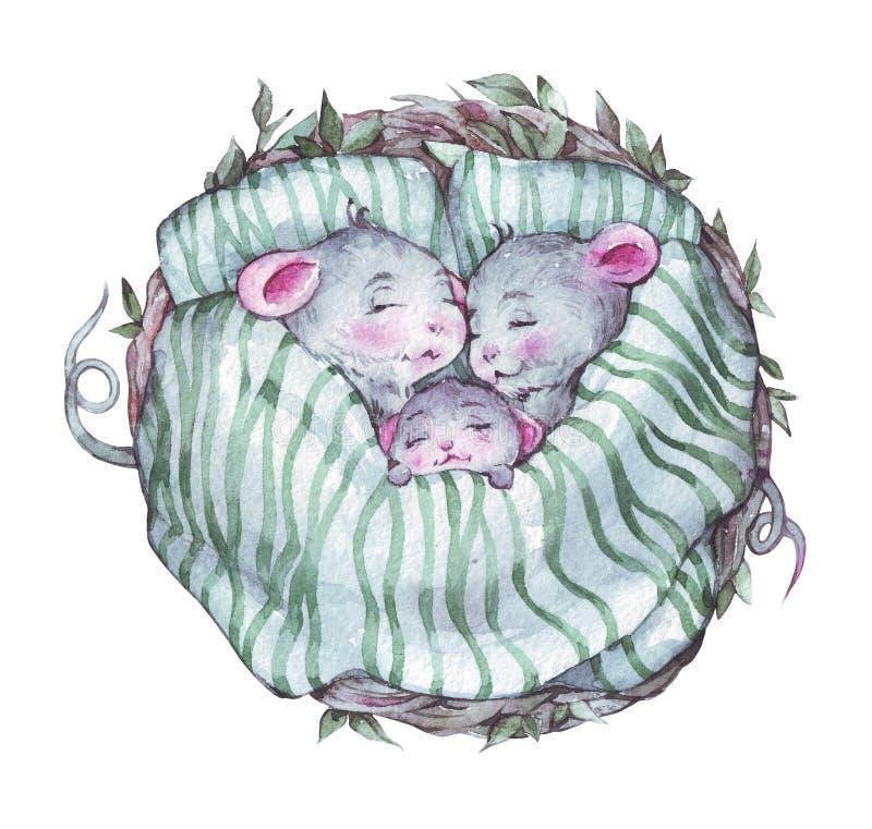 Szczęśliwy myszy kreskówki rodziny dosypianie ilustracja wektor