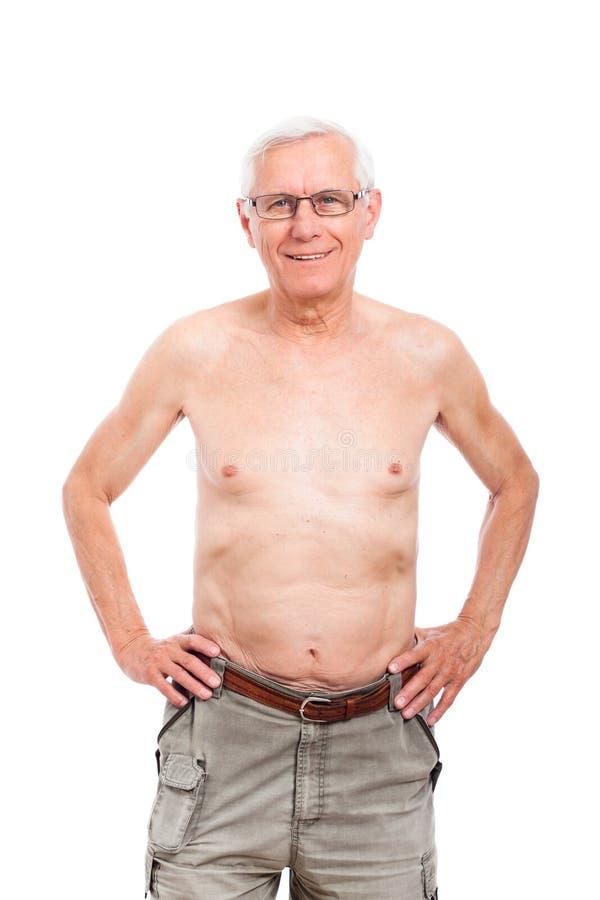 Szczęśliwy nagi starszy mężczyzna fotografia royalty free
