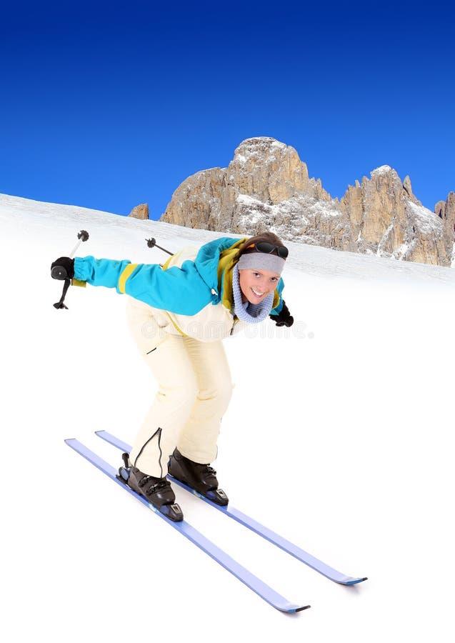 szczęśliwy narciarstwo obraz royalty free