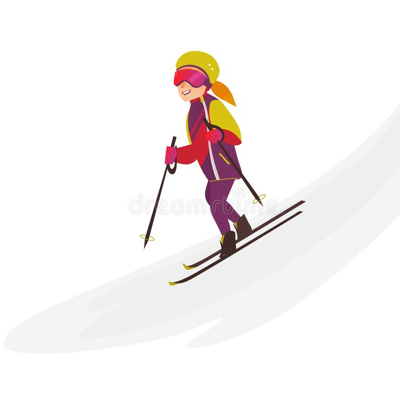 Szczęśliwy nastoletniej dziewczyny narciarstwo zjazdowy, zima sport ilustracji