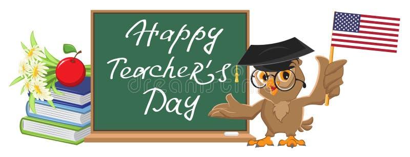 Szczęśliwy nauczyciela dzień Sowa nauczyciela stojaki przy blackboard ilustracja wektor
