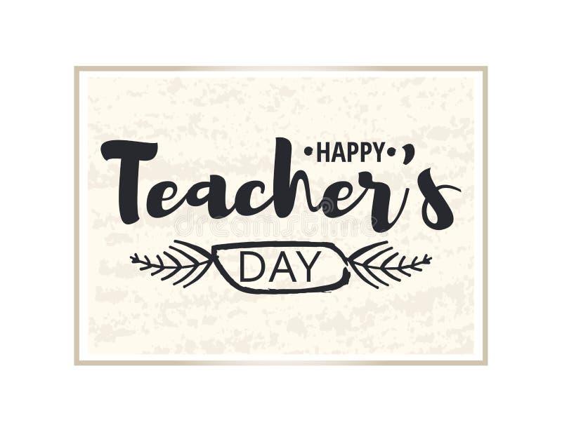 Szczęśliwy nauczyciela ` s dnia kartka z pozdrowieniami Brylant rama z gratulacjami dzień nauczyciele Złocisty majcher odizolowyw ilustracji