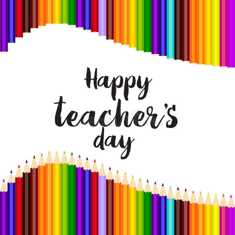 Szczęśliwy nauczyciela ` s dnia kartka z pozdrowieniami z ręka pisać tekstem wektor ilustracji