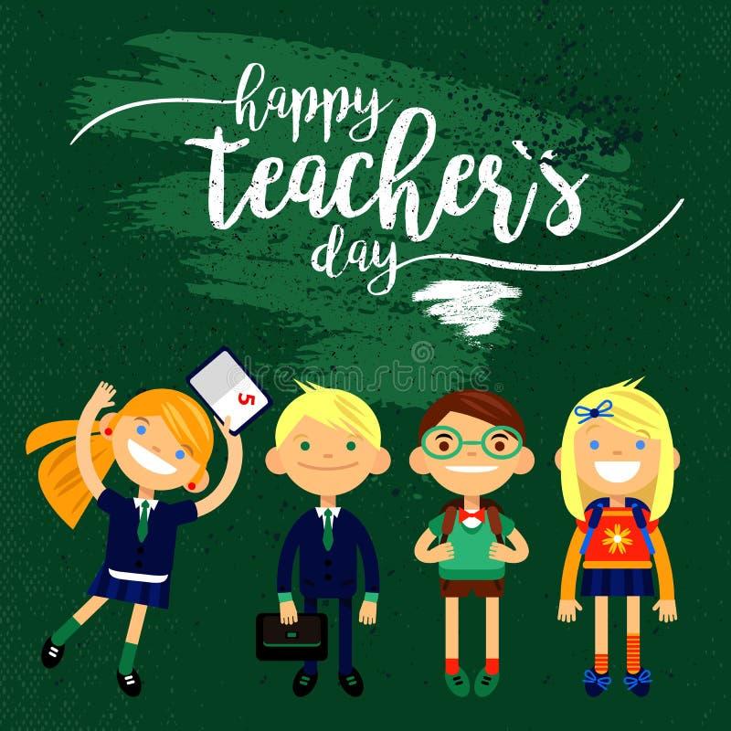 Szczęśliwy nauczyciela ` s dzień biała inskrypcja i 4 szkolnego ucznia -, handdrawn typografia plakat również zwrócić corel ilust royalty ilustracja