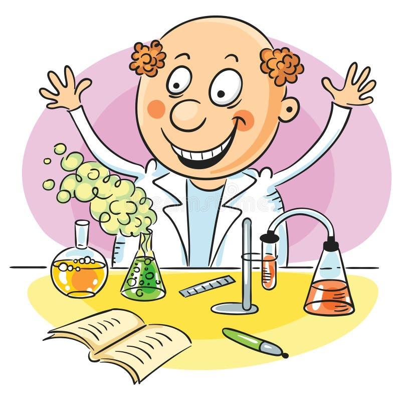 Szczęśliwy naukowiec i jego pomyślny eksperyment ilustracja wektor