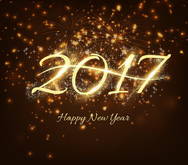Szczęśliwy nowego roku świętowania 2017 tło z błyszczącym tekstem, fajerwerki w nocy tle royalty ilustracja