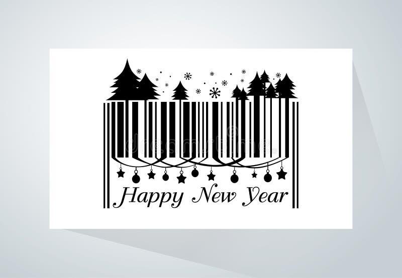 Szczęśliwy nowego roku barcode royalty ilustracja