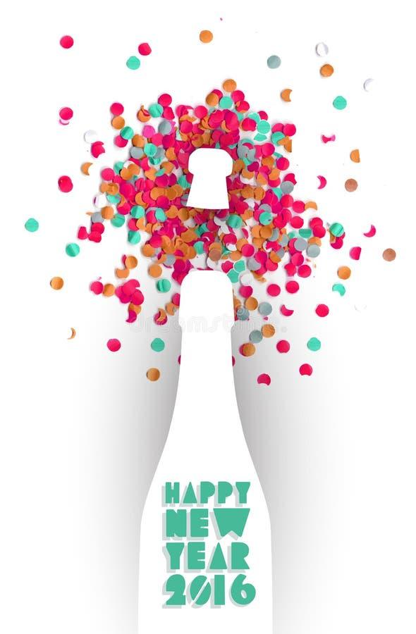 Szczęśliwy nowego roku 2016 confetti szampana przyjęcia kolor ilustracja wektor
