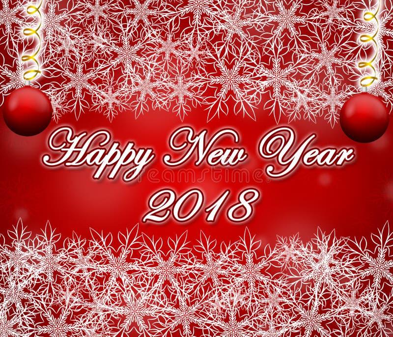 Szczęśliwy 2018 nowego roku czerwony tło z płatek śniegu ramą ilustracji