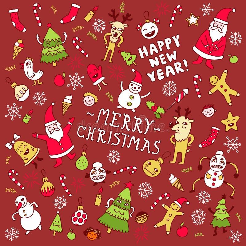 Szczęśliwy nowego roku doodle set również zwrócić corel ilustracji wektora zdjęcie stock