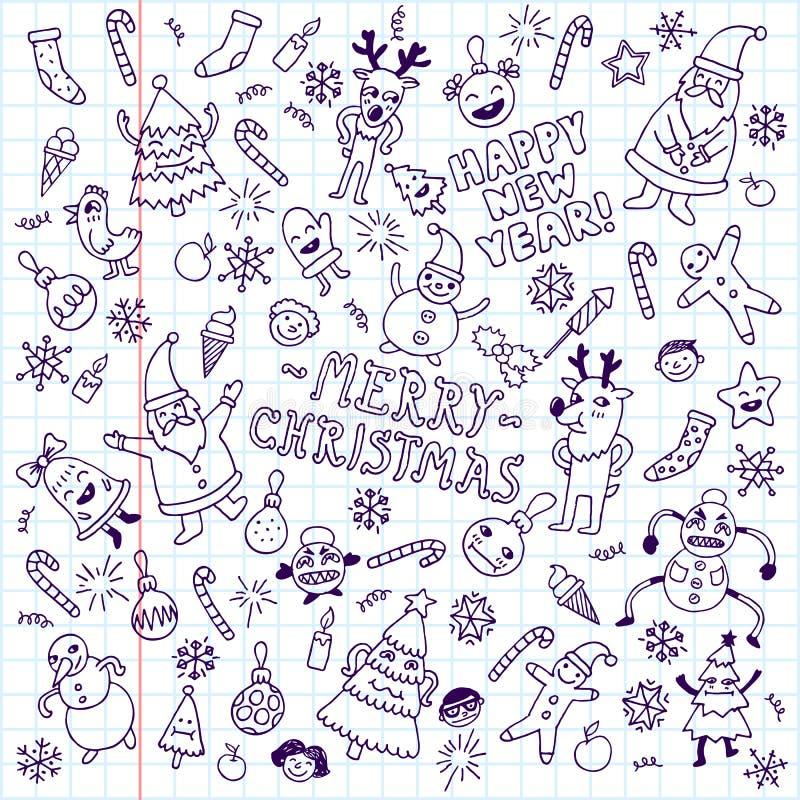 Szczęśliwy nowego roku doodle setu szkoły notatnik obraz royalty free