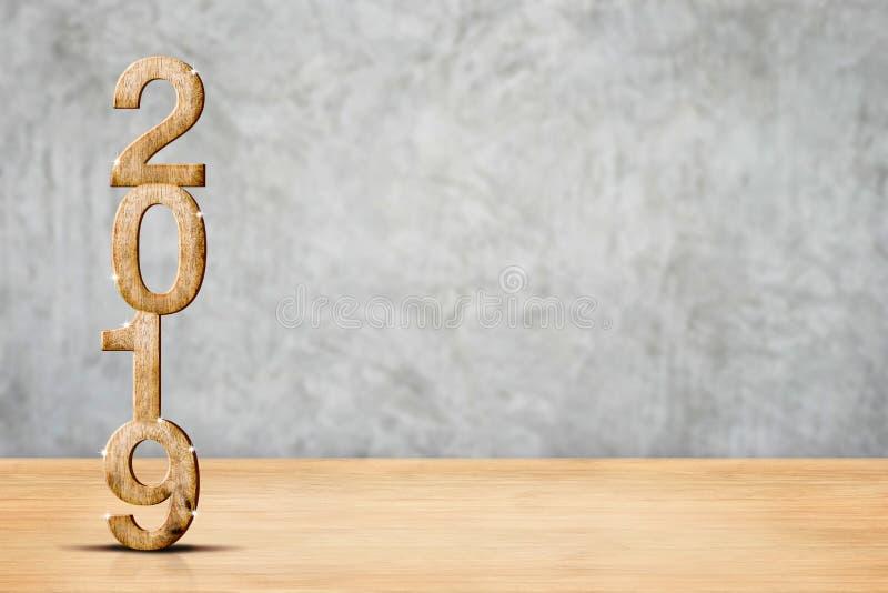 Szczęśliwy 2019 nowego roku drewniany 3d rendering w perspektywicznym drewnianym floo zdjęcia stock