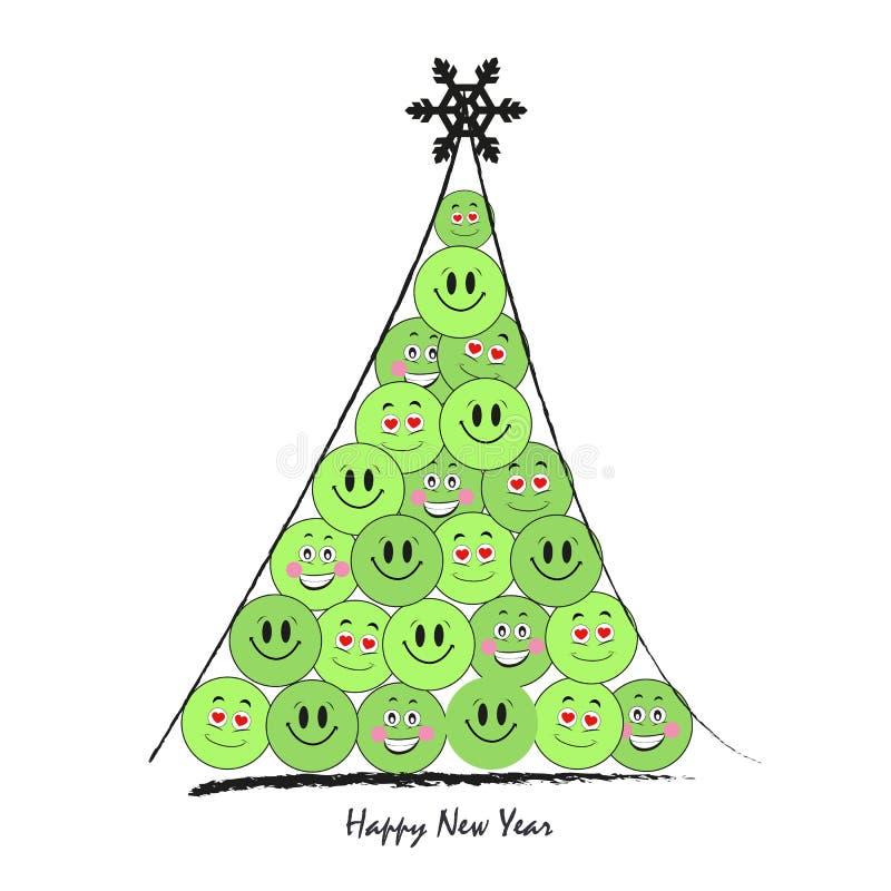 Szczęśliwy nowego roku drzewo z śmiesznym zielonym smiley wektoru kartka z pozdrowieniami ilustracji