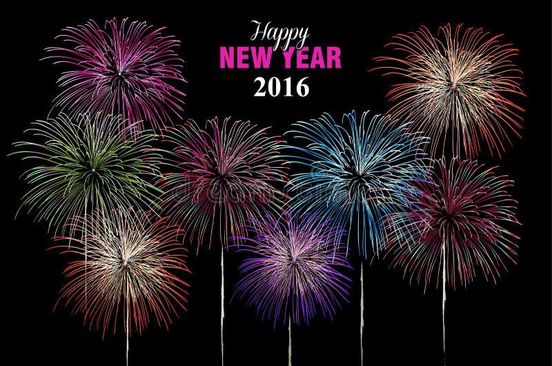 Szczęśliwy nowego roku 2016 fajerwerków nocy plakat royalty ilustracja