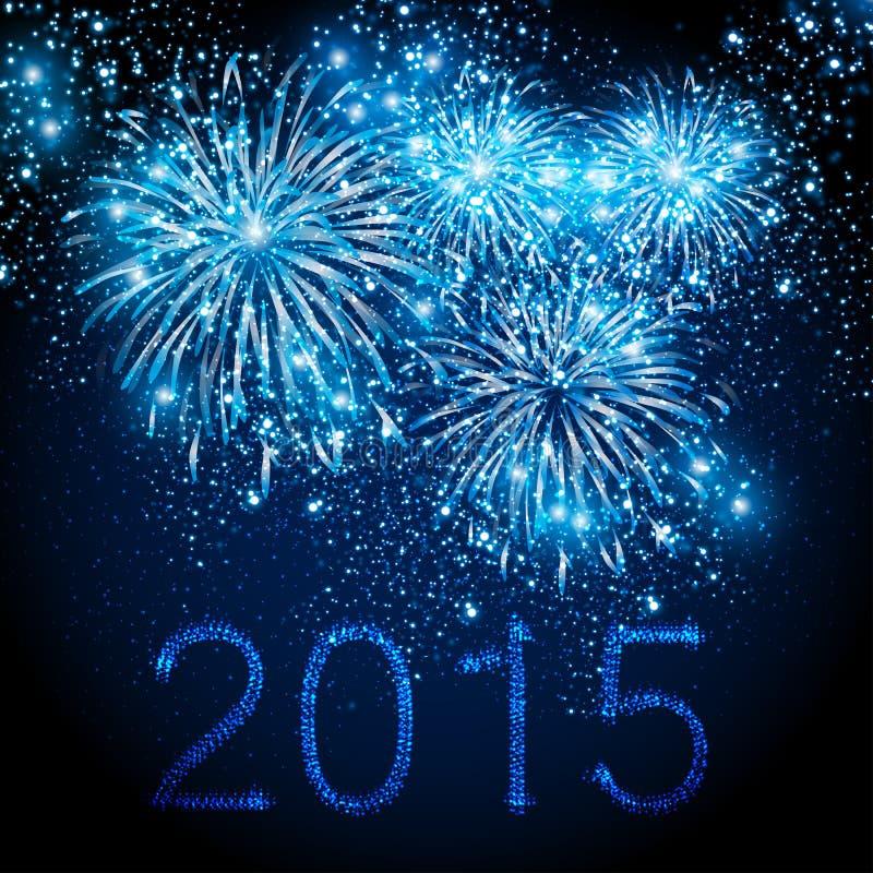 Szczęśliwy nowego roku 2015 fajerwerków tło royalty ilustracja
