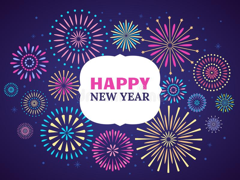 Szczęśliwy nowego roku fajerwerku plakat Świętowania 2019 fajerwerki Wektorowy ilustracyjny pojęcie ilustracji