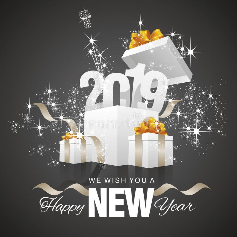 Szczęśliwy nowego roku fajerwerku prezenta pudełka czerni 2019 tło royalty ilustracja