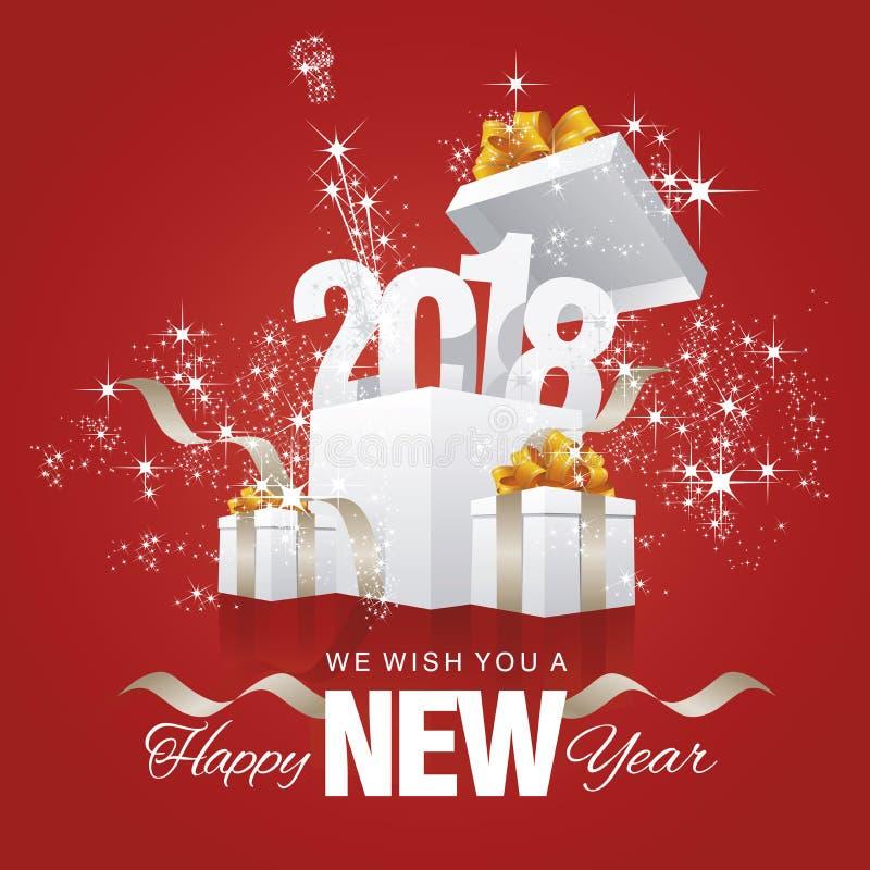 Szczęśliwy nowego roku fajerwerku stardust pudełka czerwieni 2018 tło ilustracji