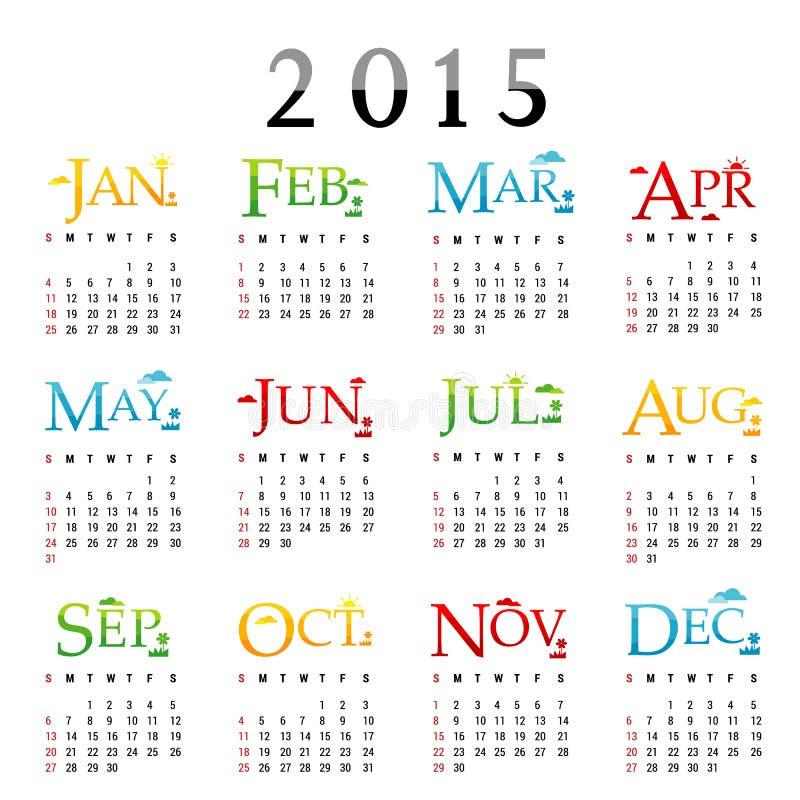 Szczęśliwy nowego roku kalendarza 2015 wektor ilustracja wektor