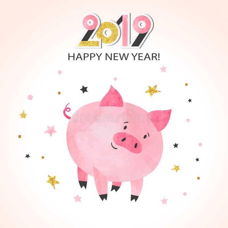 Szczęśliwy nowego roku 2019 kartka z pozdrowieniami Śliczna akwareli świnia ilustracja wektor