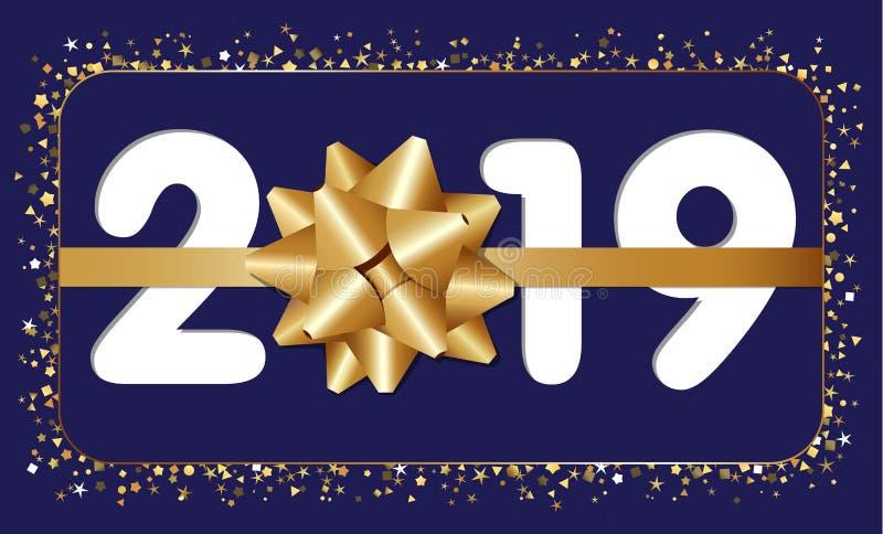 2019 Szczęśliwy nowego roku kartka z pozdrowieniami ilustracja wektor