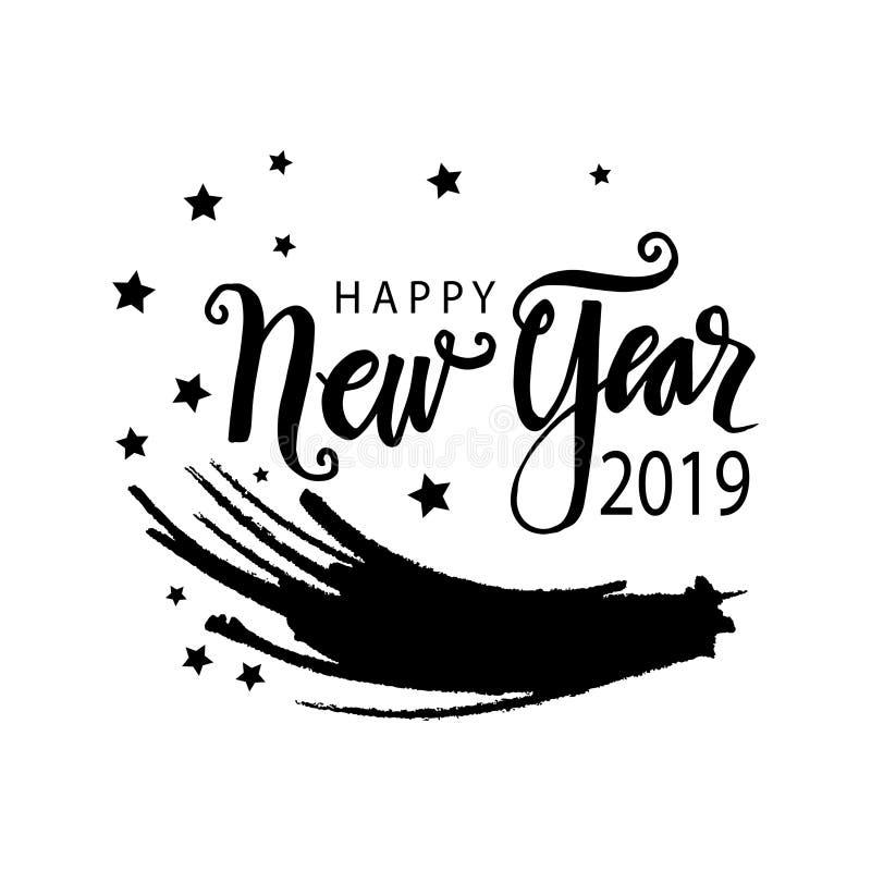 Szczęśliwy nowego roku 2019 kartka z pozdrowieniami royalty ilustracja