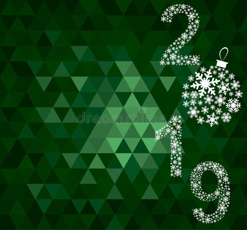 Szczęśliwy nowego roku 2019 kartka z pozdrowieniami fotografia stock