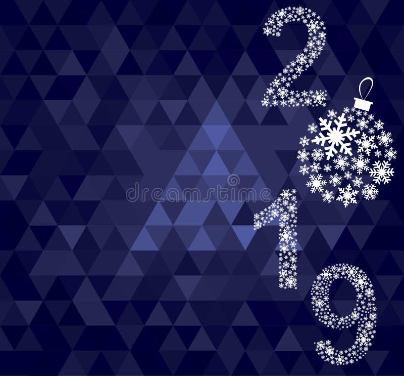 Szczęśliwy nowego roku 2019 kartka z pozdrowieniami zdjęcie royalty free