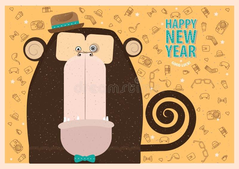 Szczęśliwy nowego roku kartka z pozdrowieniami ilustracja wektor