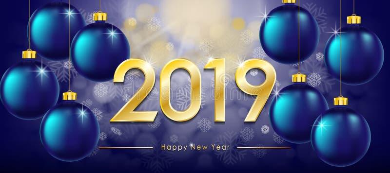 Szczęśliwy nowego roku 2019 kartka z pozdrowieniami Nowy Rok zimy sztandar z złocistym tekstem i błyszczącymi piłkami Iskrzasty b ilustracja wektor