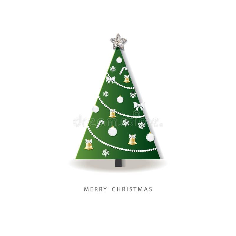 Szczęśliwy nowego roku kartka z pozdrowieniami odznaczony świąteczne drzewko 3D papier ciący out projekt royalty ilustracja