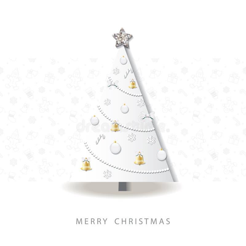 Szczęśliwy nowego roku kartka z pozdrowieniami odznaczony świąteczne drzewko 3D papier ciący out projekt domki serową miodowy mię royalty ilustracja