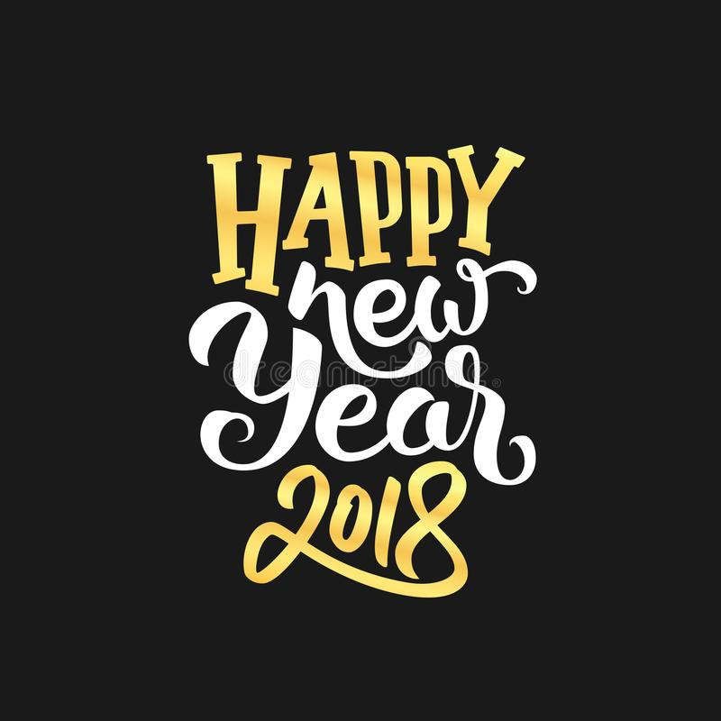Szczęśliwy 2018 nowego roku kartka z pozdrowieniami wektorowy projekt ilustracji