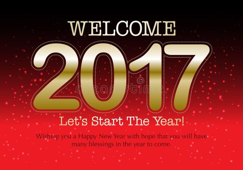 Szczęśliwy 2017 nowego roku kolorowa tapeta ilustracja wektor