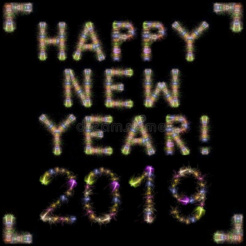 Szczęśliwy 2019 nowego roku kolorowi iskrzaści fajerwerki obciosują czarnego sk ilustracji