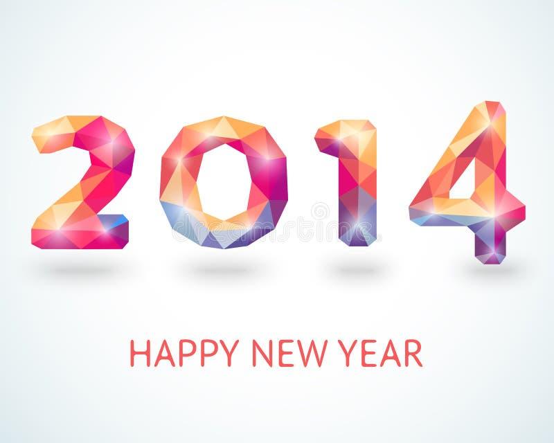 Szczęśliwy 2014 nowego roku kolorowy kartka z pozdrowieniami royalty ilustracja