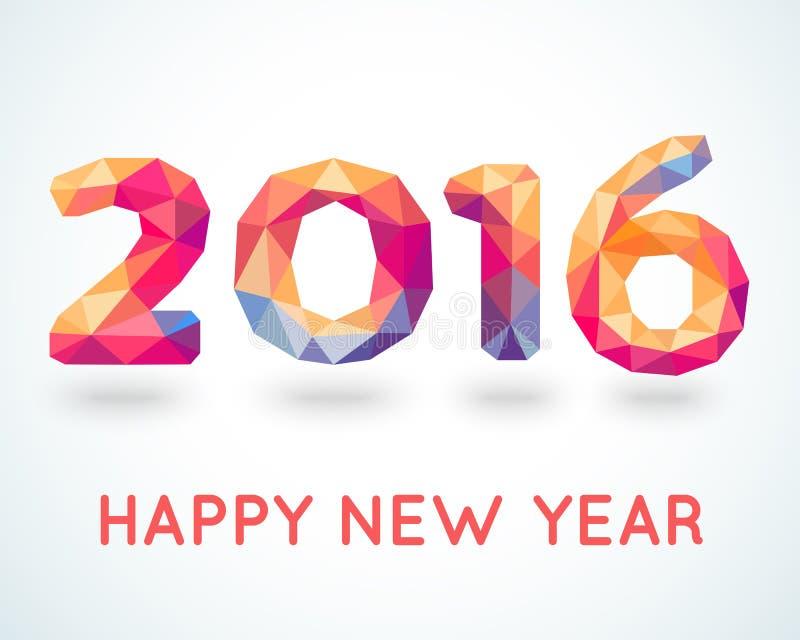 Szczęśliwy 2016 nowego roku kolorowy kartka z pozdrowieniami royalty ilustracja