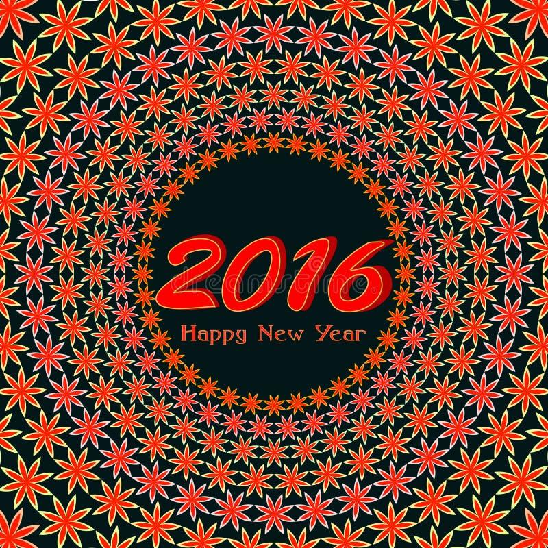 Szczęśliwy 2016 nowego roku kolorowy kartka z pozdrowieniami ilustracji