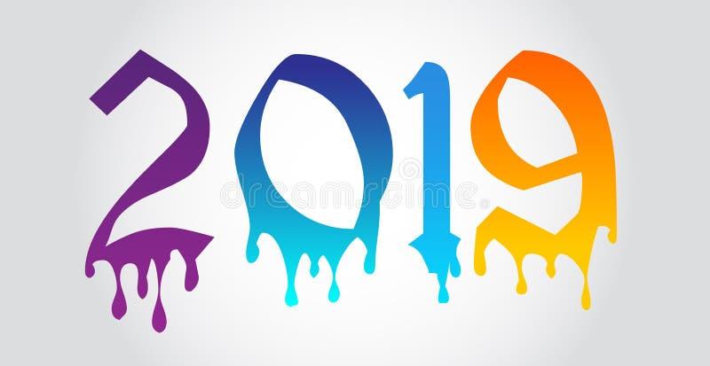 Szczęśliwy 2019 nowego roku kolorowy wektorowy projekt royalty ilustracja