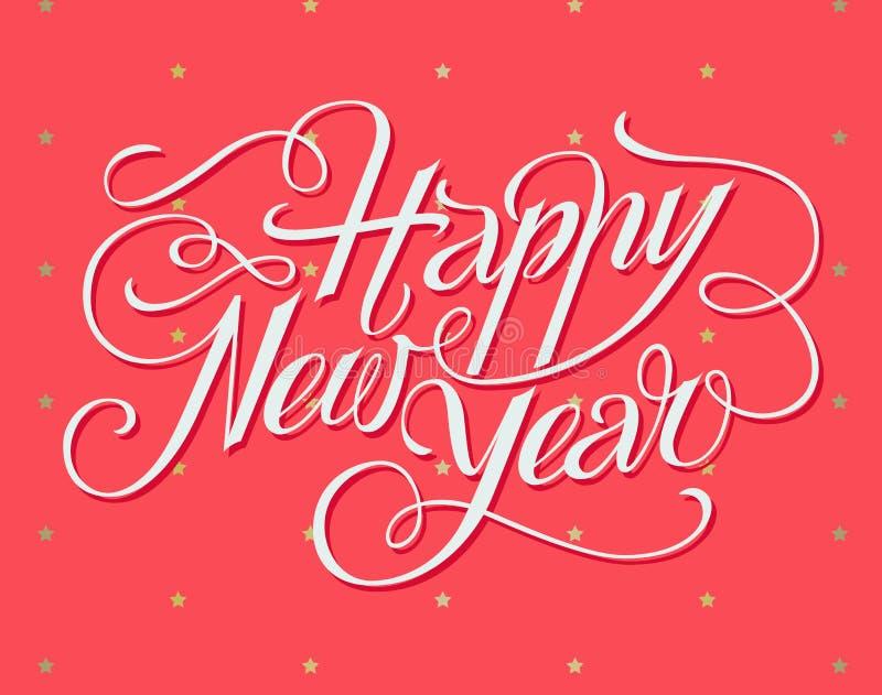 Szczęśliwy nowego roku literowania kartka z pozdrowieniami royalty ilustracja