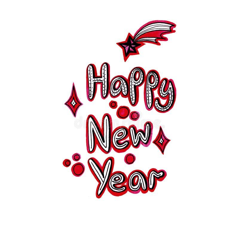 Szczęśliwy nowego roku literowanie z kometa czerwonym kolorem na białym tle ilustracji