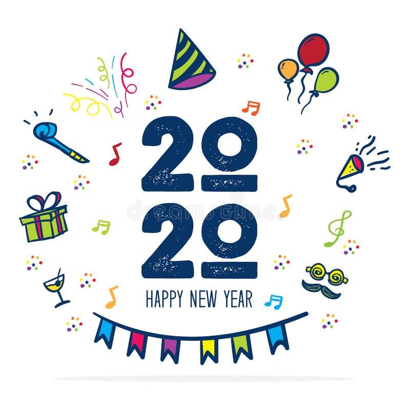 Szczęśliwy nowego roku 2020 logo z partyjną ikony doodle ręką rysuje kolorowego styl zabawy kartka z pozdrowieniami dla świętowan royalty ilustracja