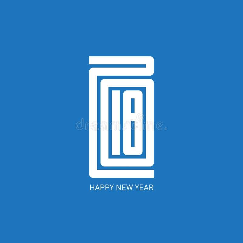 Szczęśliwy nowego roku minimalisty 2018 kalendarz lub broszurki pokrywa, typog ilustracja wektor