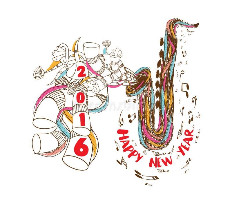 Szczęśliwy nowego roku 2016 musical z Jazzową Saksofonową doodle sztuką royalty ilustracja