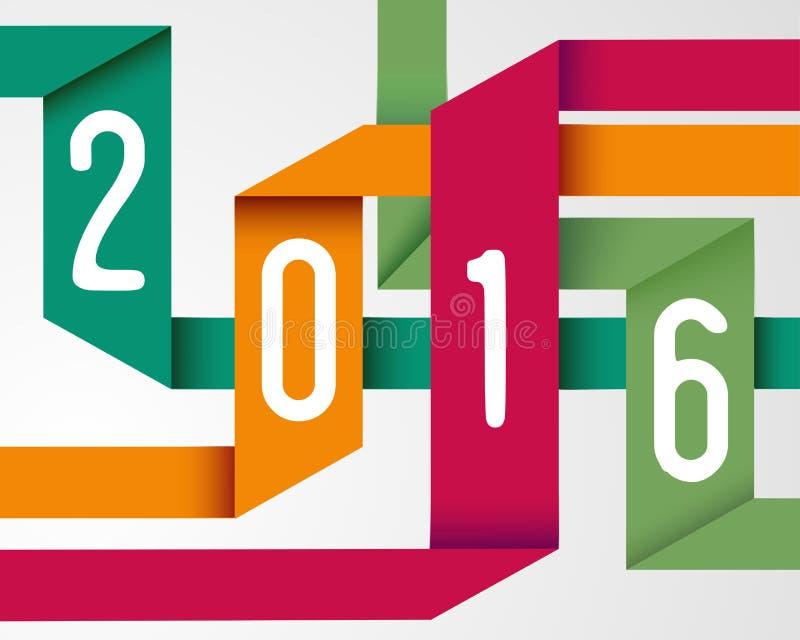 Szczęśliwy 2016 nowego roku origami prosty tło ilustracji