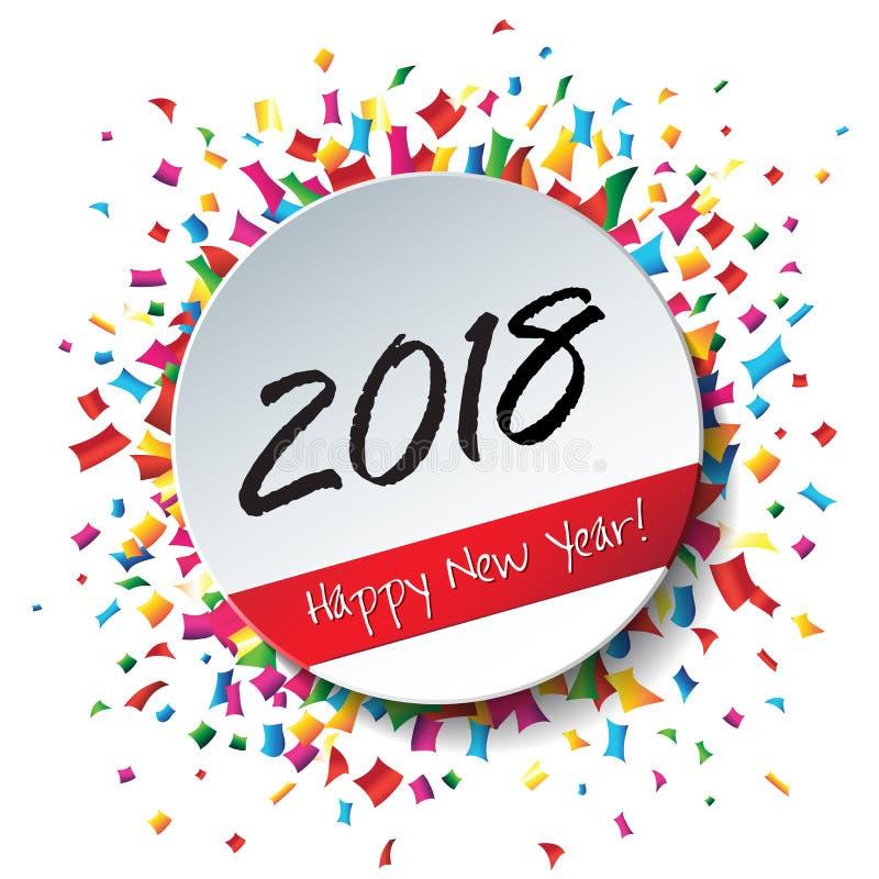 Szczęśliwy 2018 nowego roku płaska etykietka i znaczek royalty ilustracja