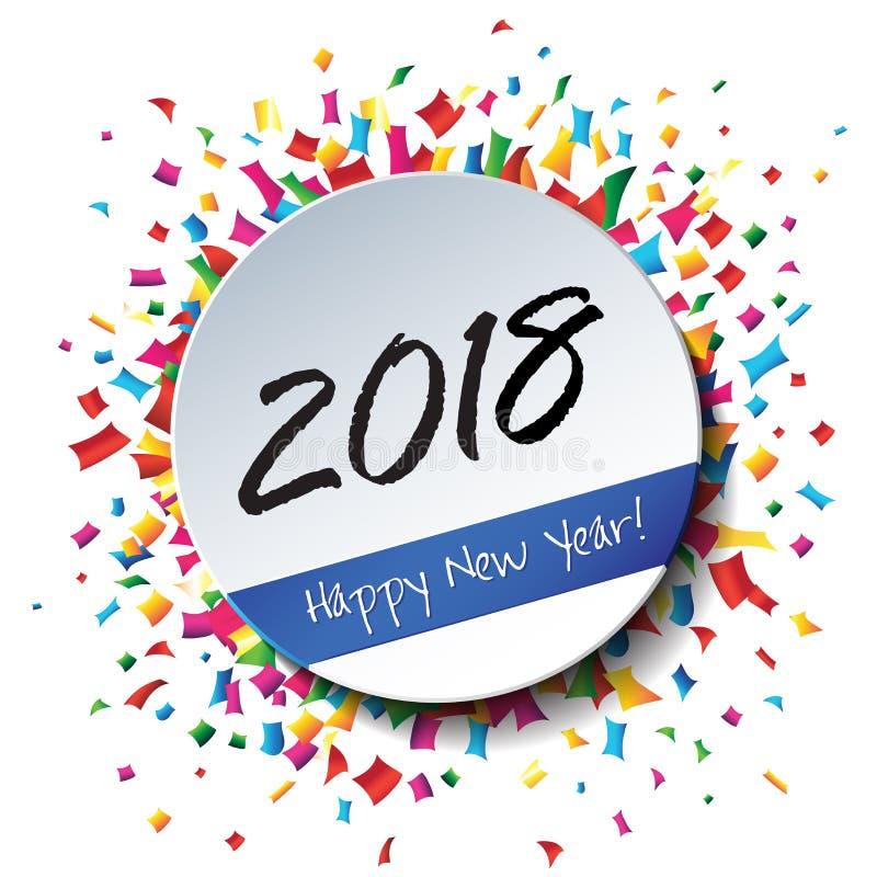 Szczęśliwy 2018 nowego roku płaska etykietka i znaczek ilustracja wektor